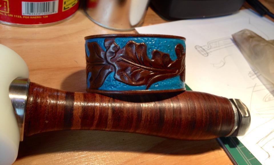 Blue Cuff with Leaf